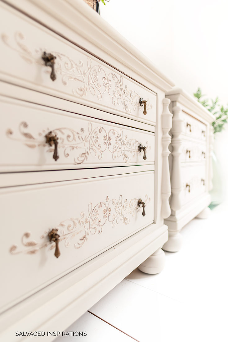 Side View of Painted Nightstands with Raised Stencil