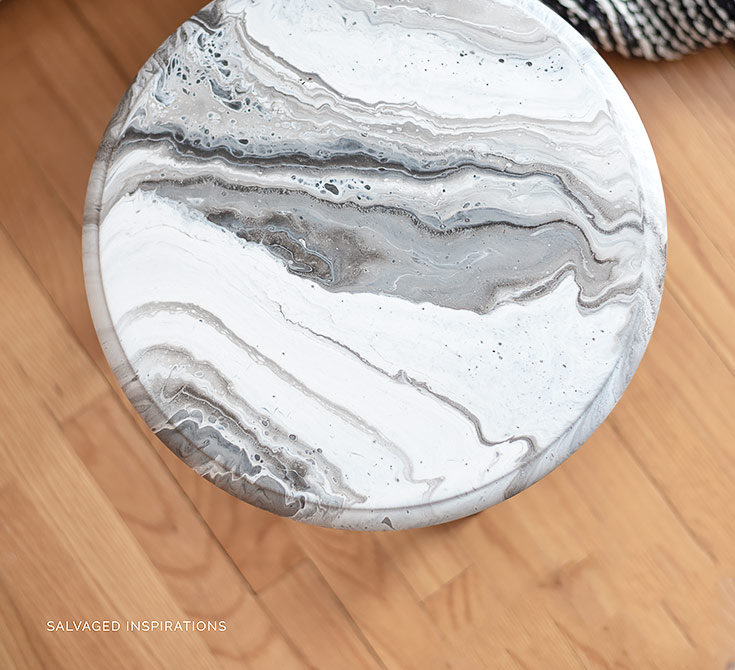 Top View of Marble Pour Paint Technique