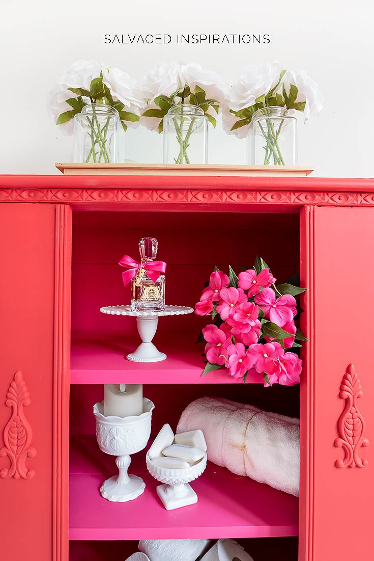 Red and Pink Painted Cabinet