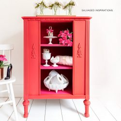 Red and Pink Painted Vintage Radio Cabinet IG