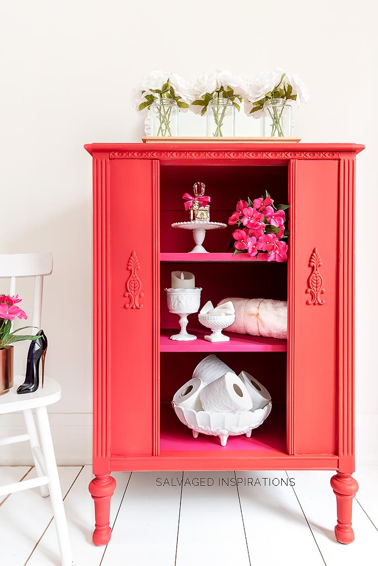 Red and Pink Painted Vintage Radio Cabinet