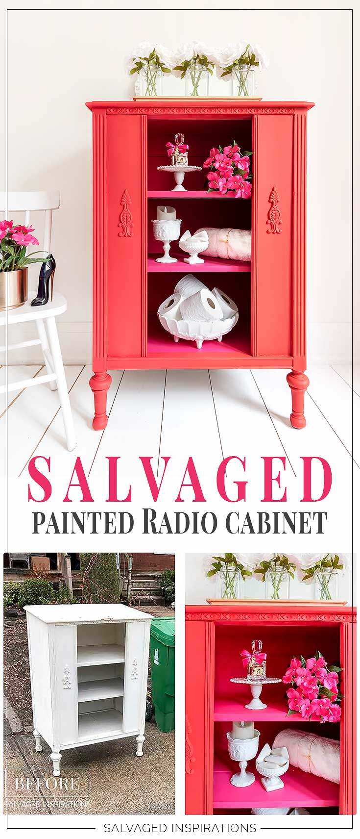 Salvaged Painted Vintage Radio Cabinet