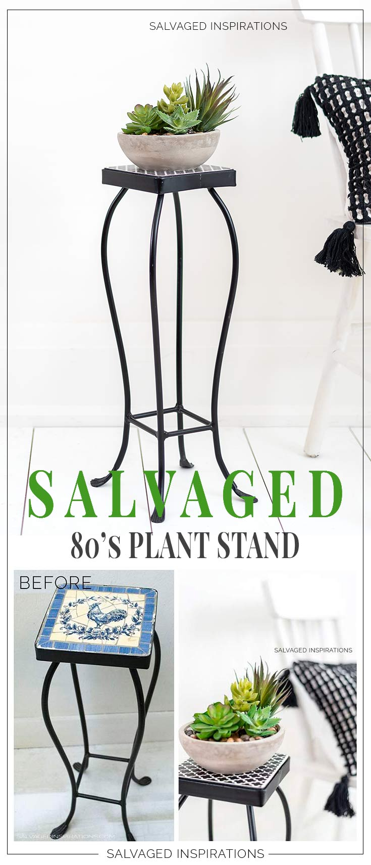 Salvaged Stenciled 80s Plant Stand