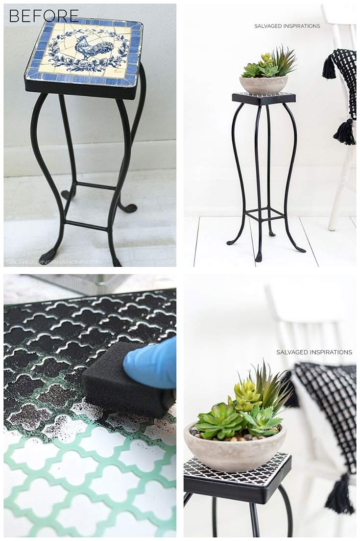 Stencilled Plant Stand w Succulent before and after