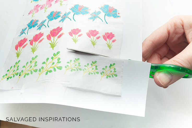 Cutting out Decoupage Florals