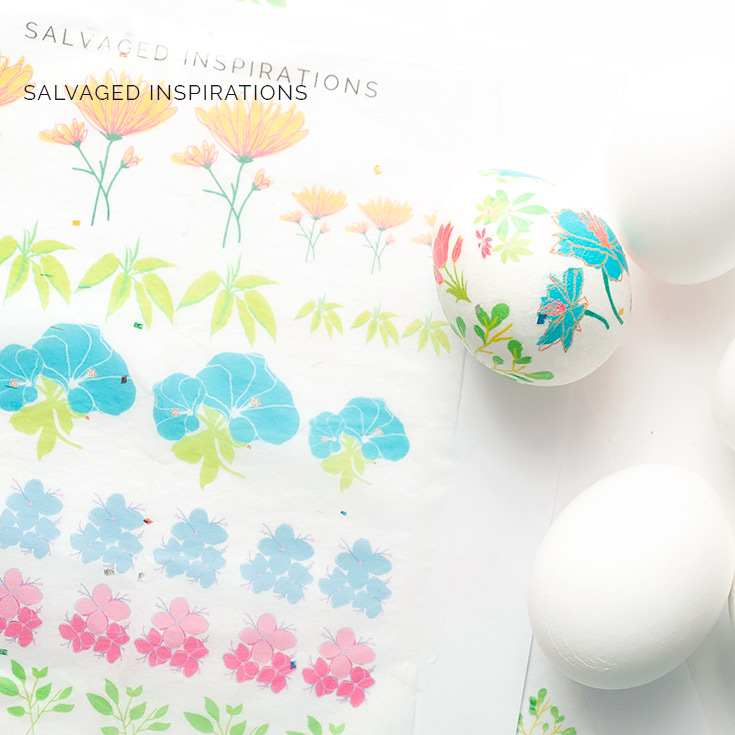 Decoupage Floral Tissue Easter Eggs
