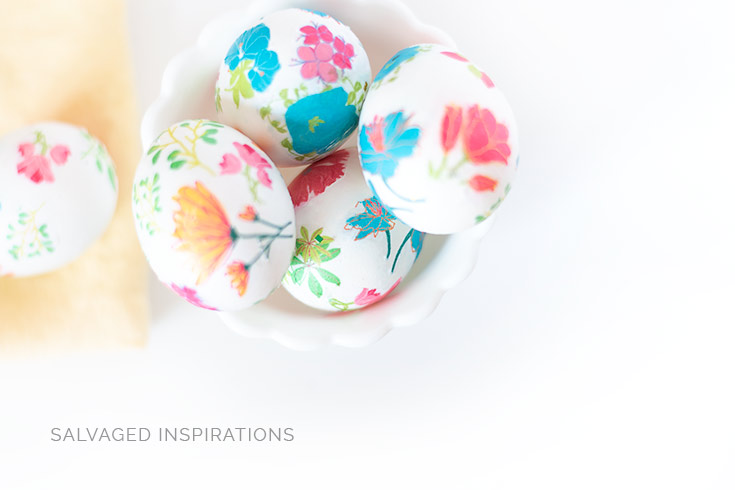 Top View of Floral Easter Eggs