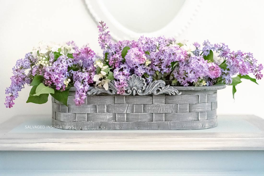 Lilacs in Painted Basket