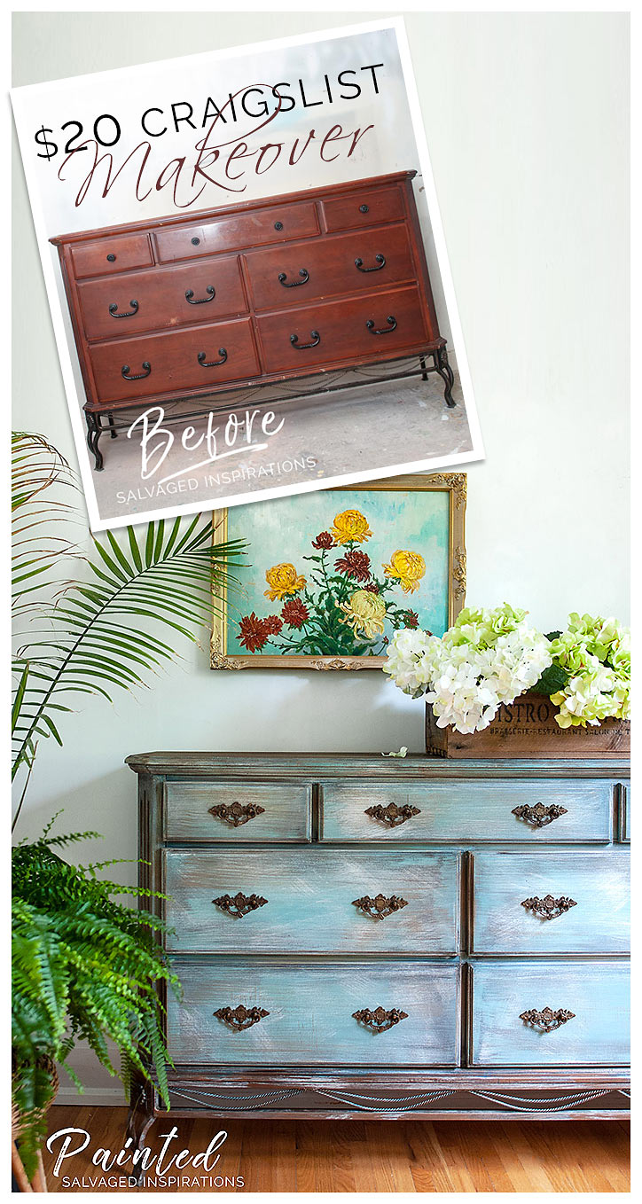 $20 Makeover - Painted Craigslist Dresser w Iron Legs