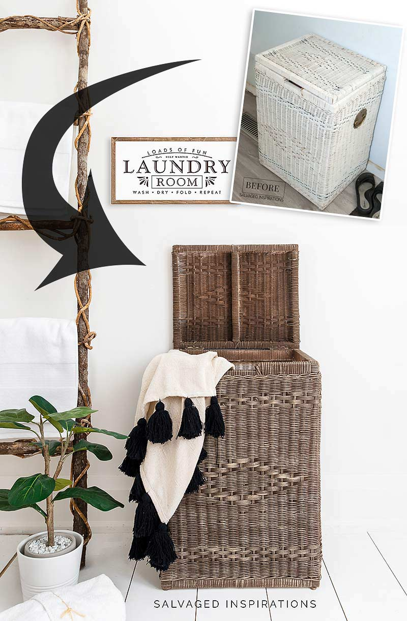 Before and After Wicker Painted Laundry Hamper