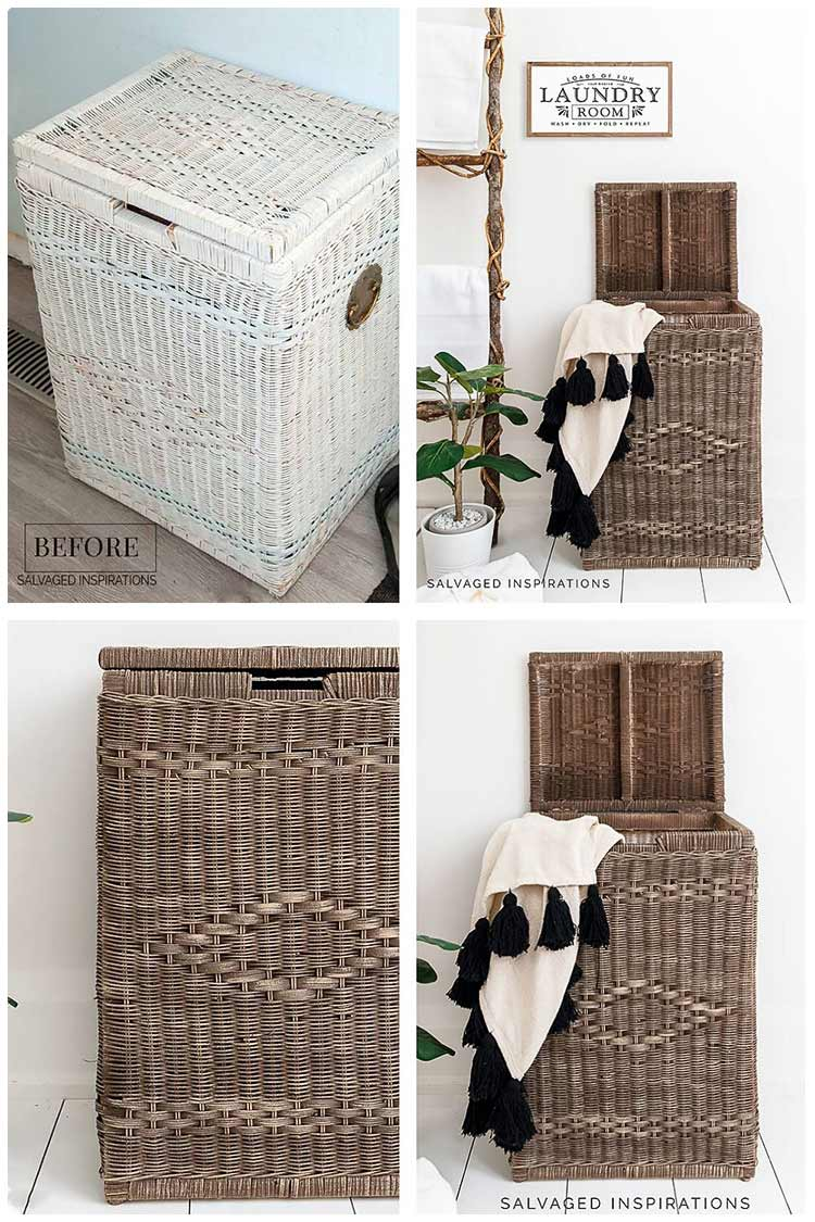 Natural Painted Wicker Laundry Hamper