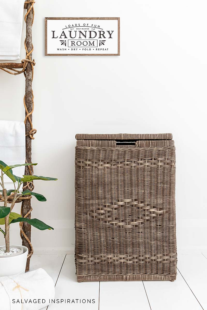 Painted Wicker Basket w Laundry Sign