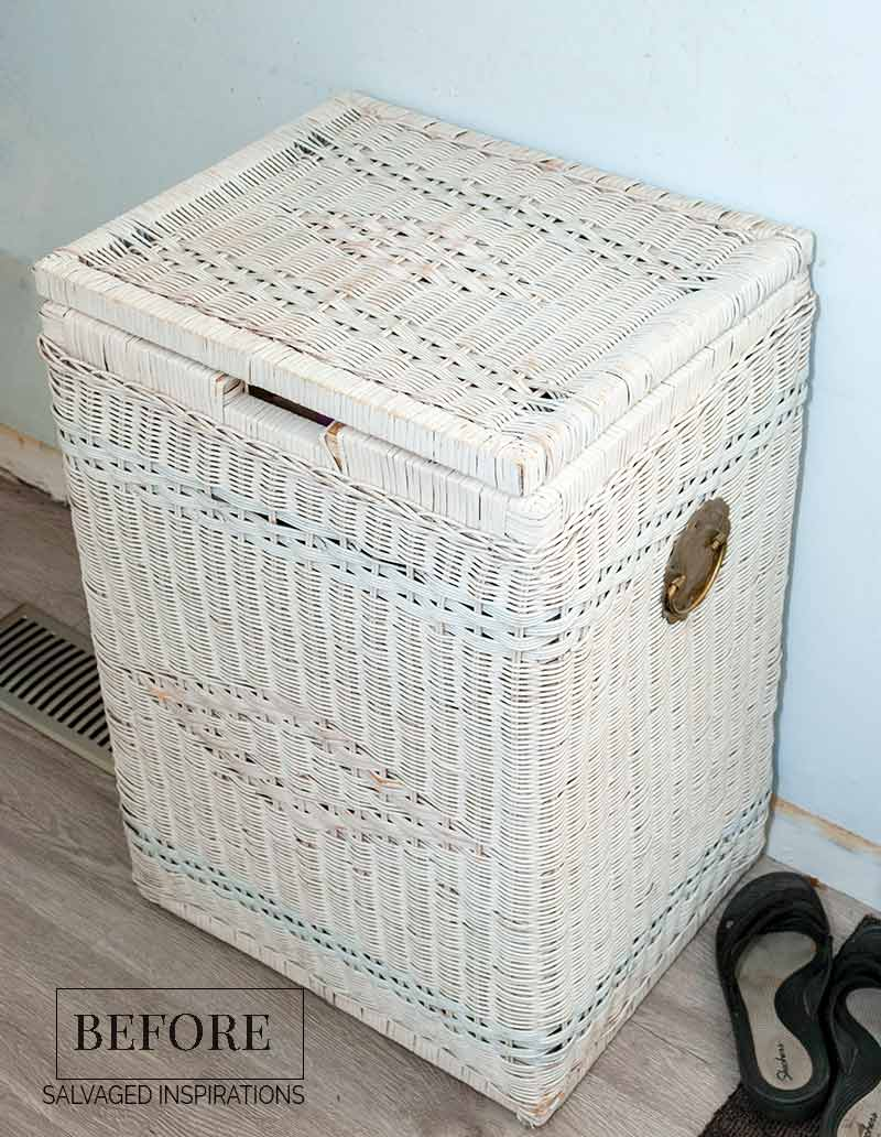 Painted Wicker Laundry Hamper Before1