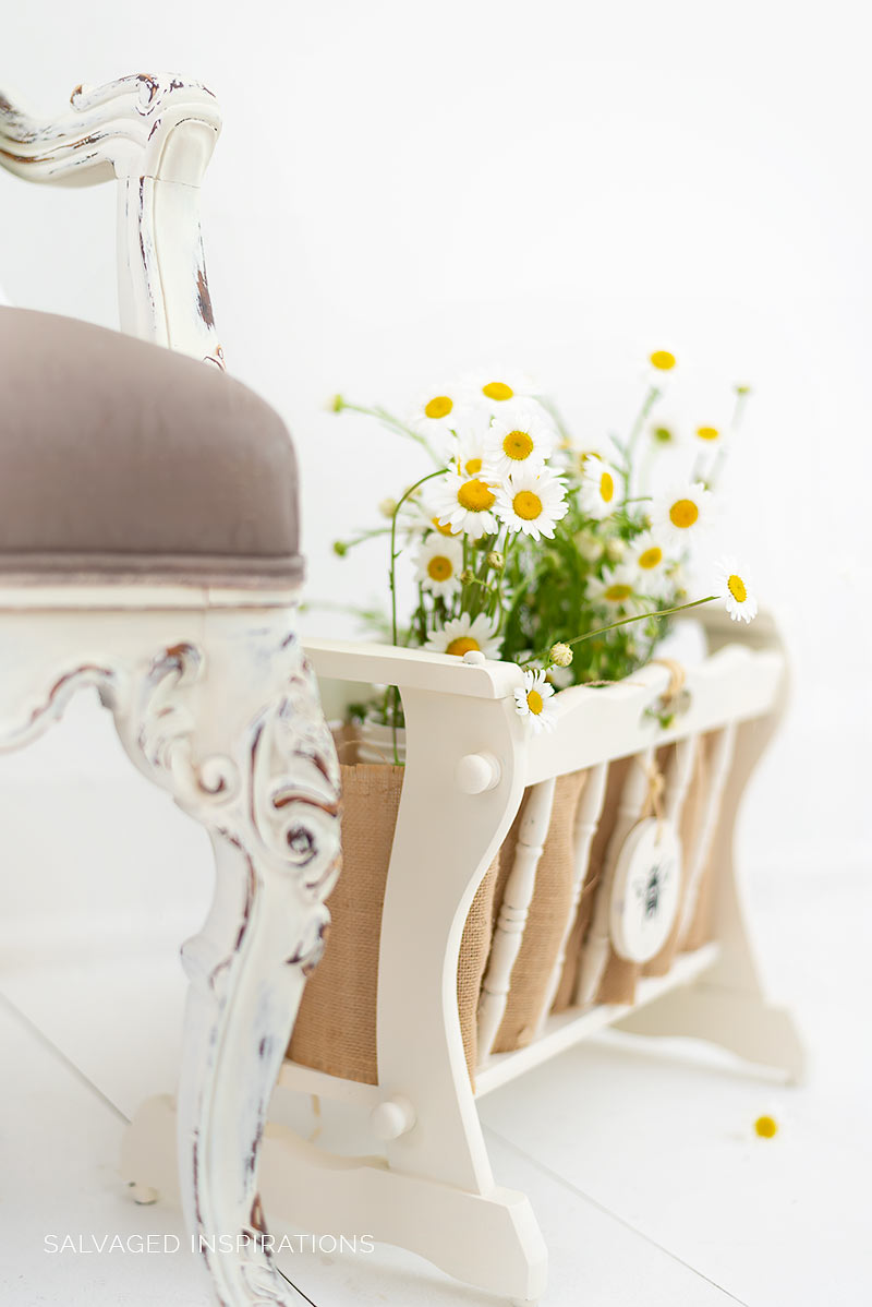 Painted Wood Magazine Rack
