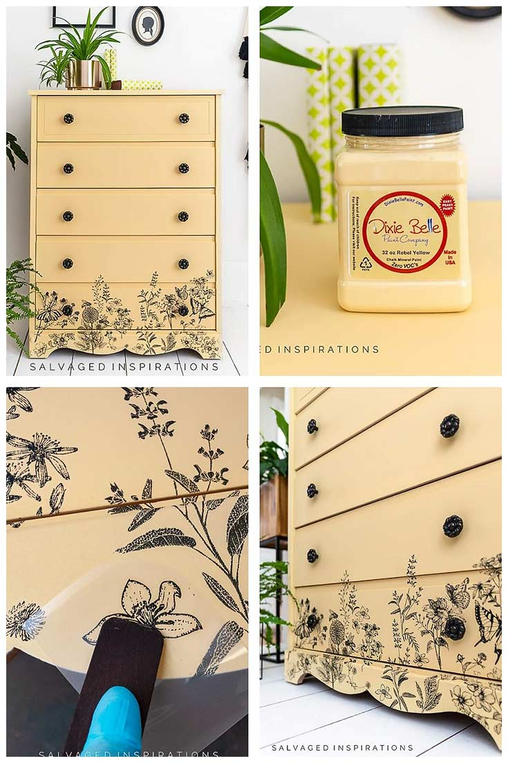 Rebel Yellow Painted Dresser - Salvaged Inspirations
