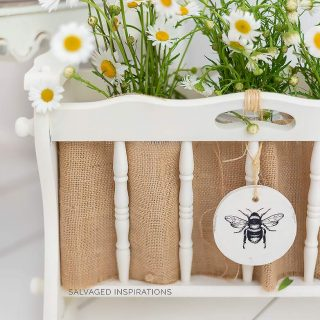 Repurposed Wood Magazine Rack w Flowers IG