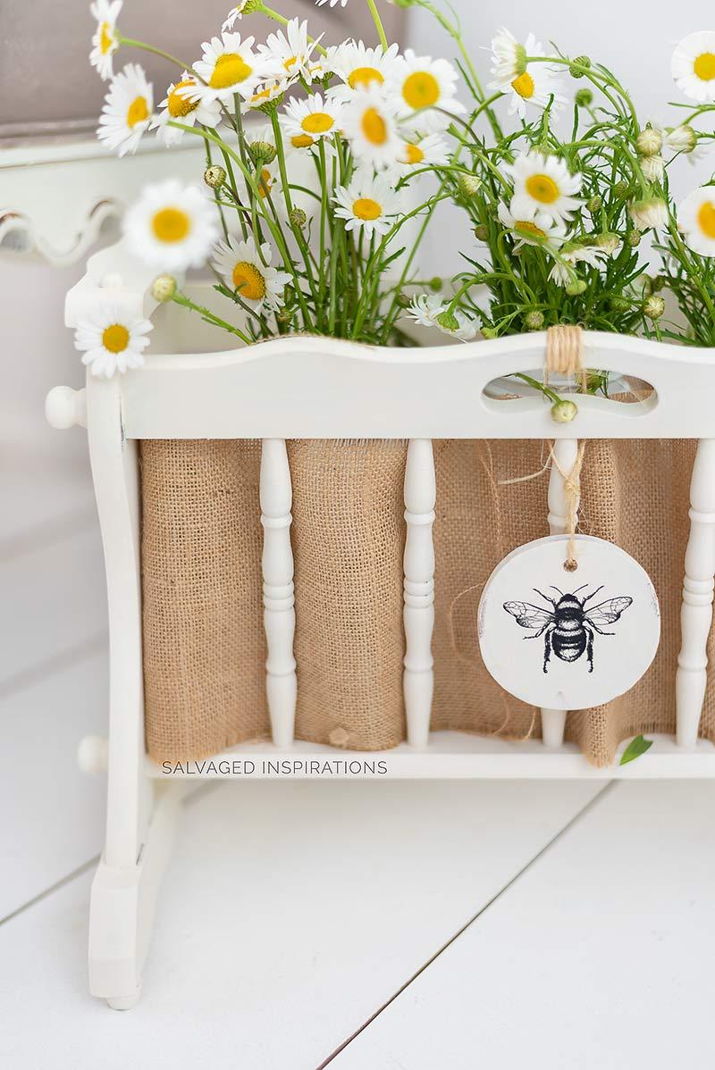 Repurposed Wood Magazine Rack w Flowers
