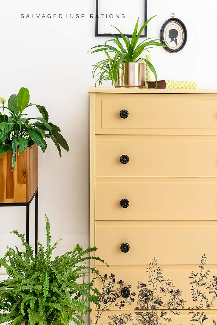 Side View of Spring Meadow Painted Dresser