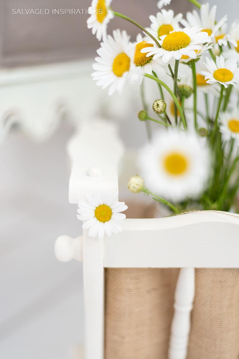 Wild Daisys in Repurposed Magazine Rack