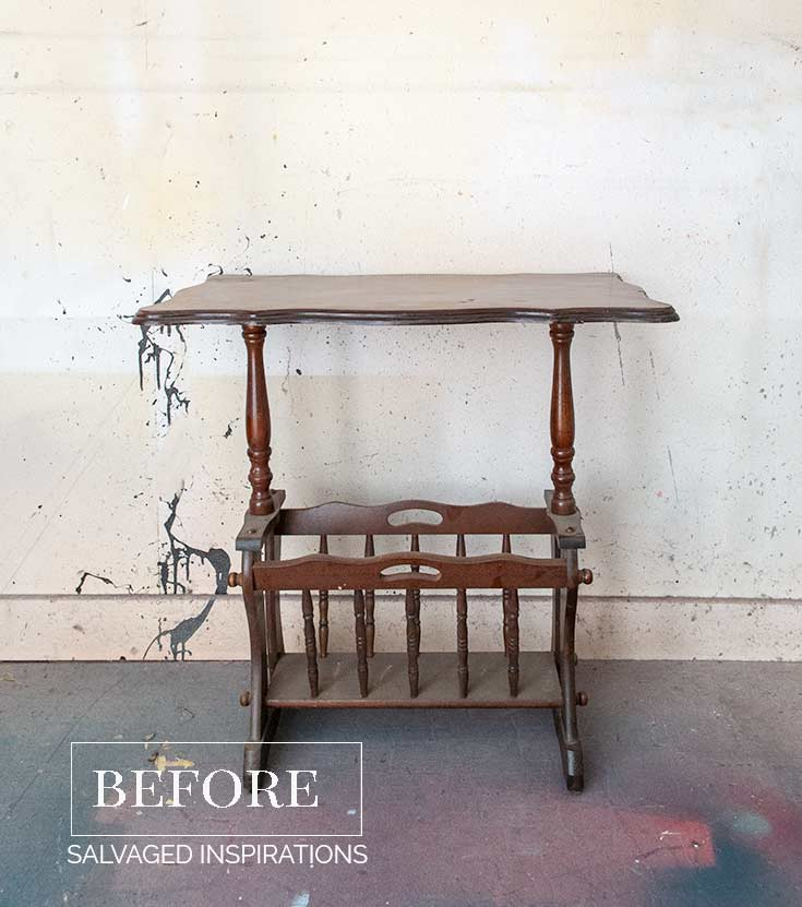 Wooden Magazine Rack Table Before