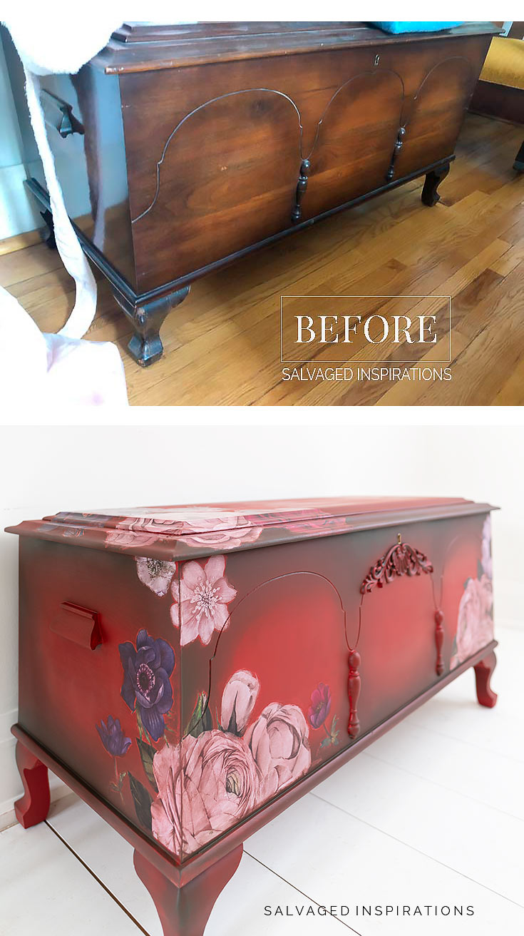 Before and After Painted Cedar Chest