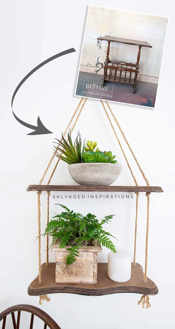 DIY Hanging Rope Shelf Before and After
