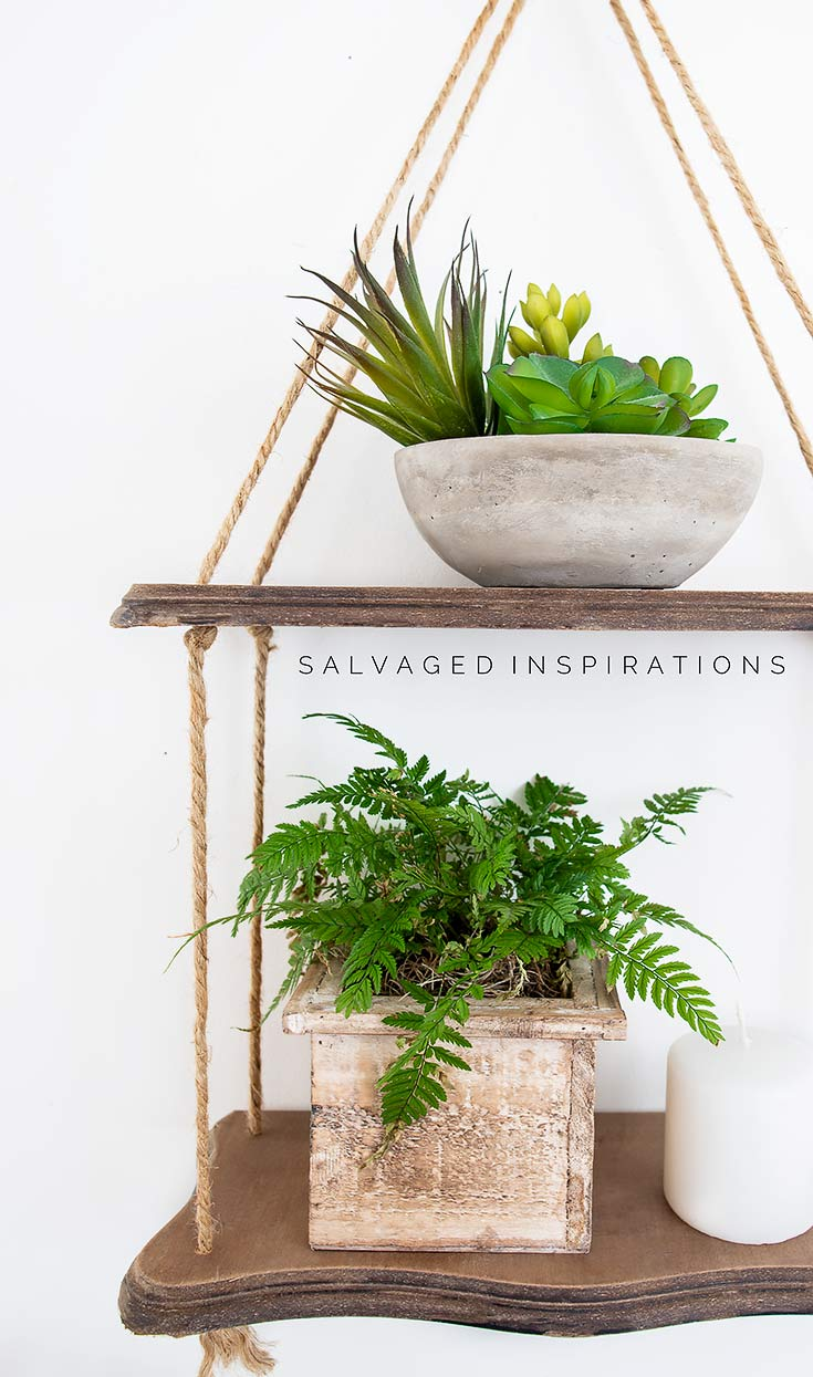 DIY Hanging Rope Shelf SI blog
