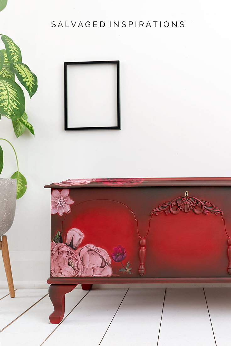 Painted Floral Cedar Chest