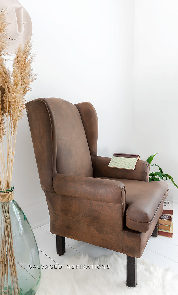 Side View Of Leather Painted Wing Chair