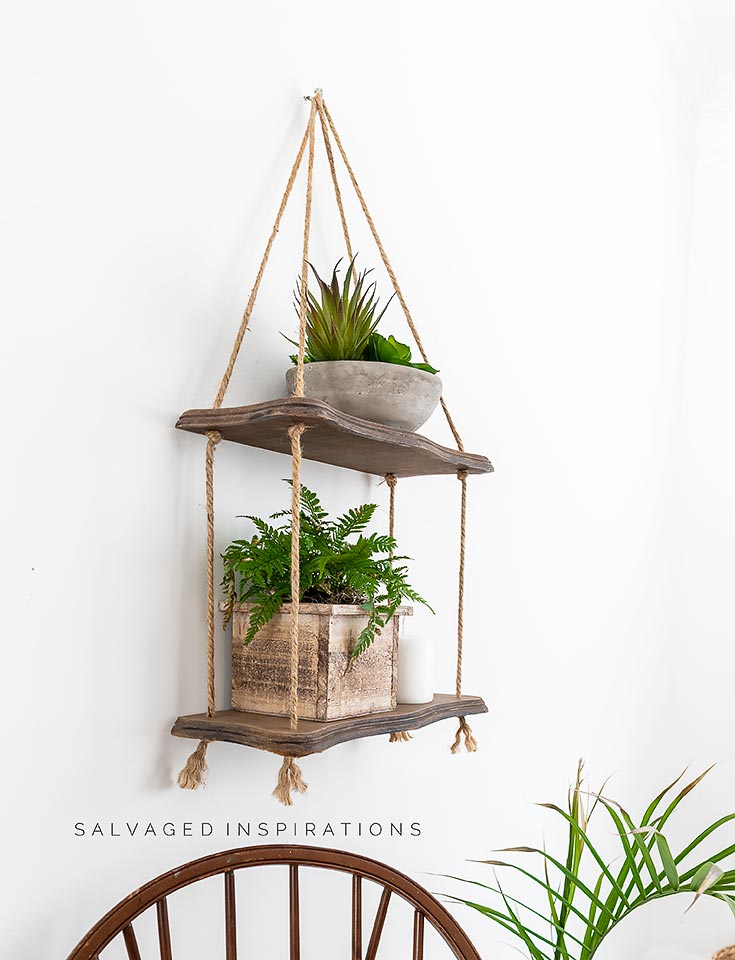 Side View of DIY Hanging Rope Shelf