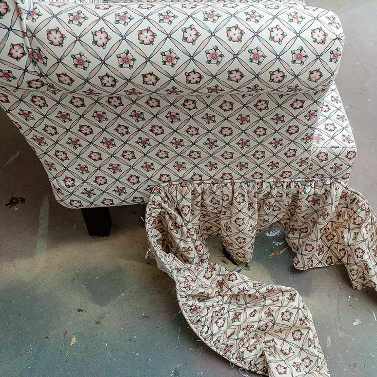 Taking Off Upholstered Chair Skirt