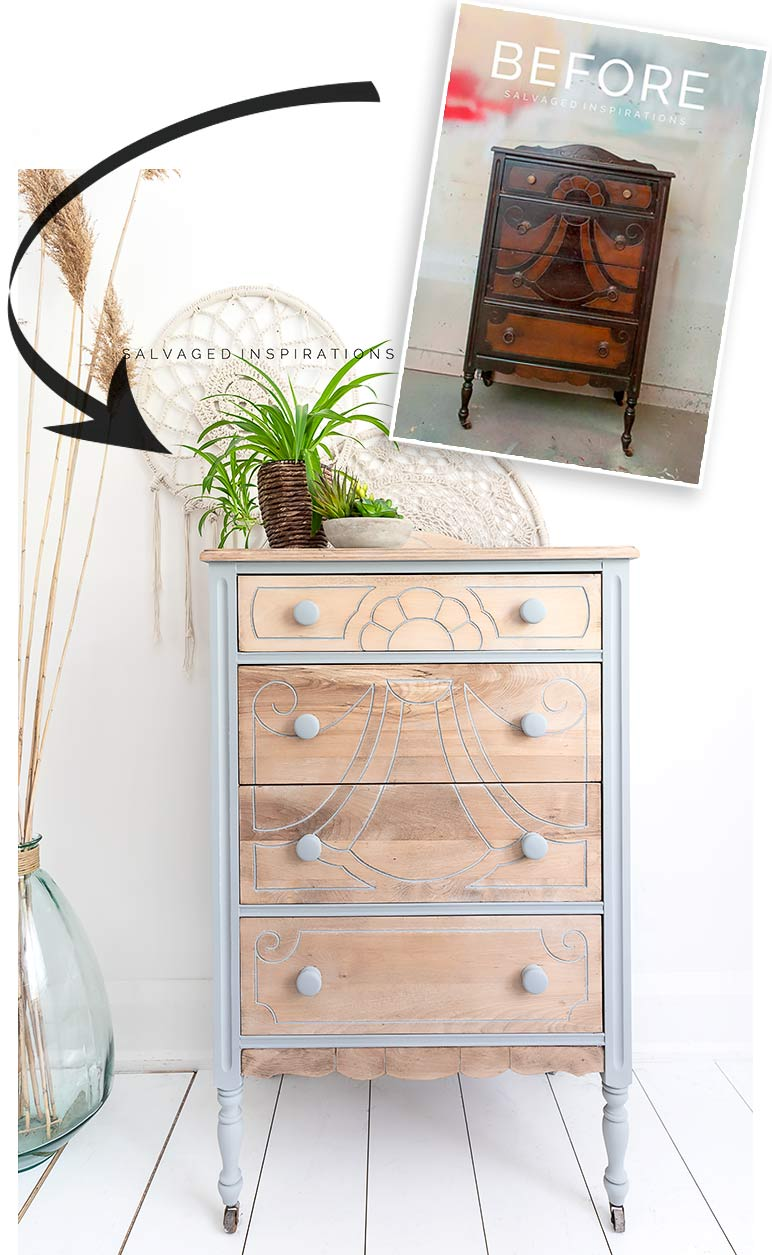Before And After Bleached Wood Dresser
