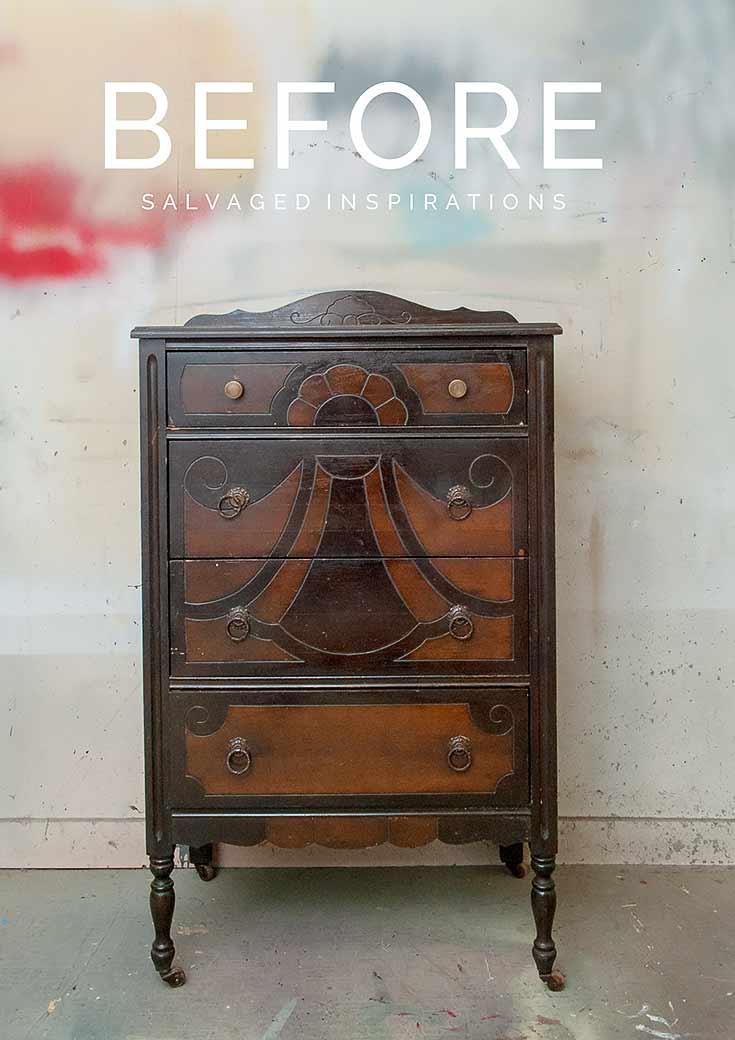 Bleached Wood Vintage Dresser Before