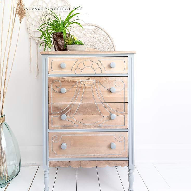 Bleached Wood Vintage Dresser Makeover IG
