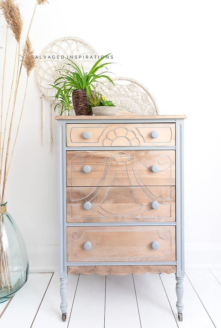 Bleached Wood Vintage Dresser Makeover