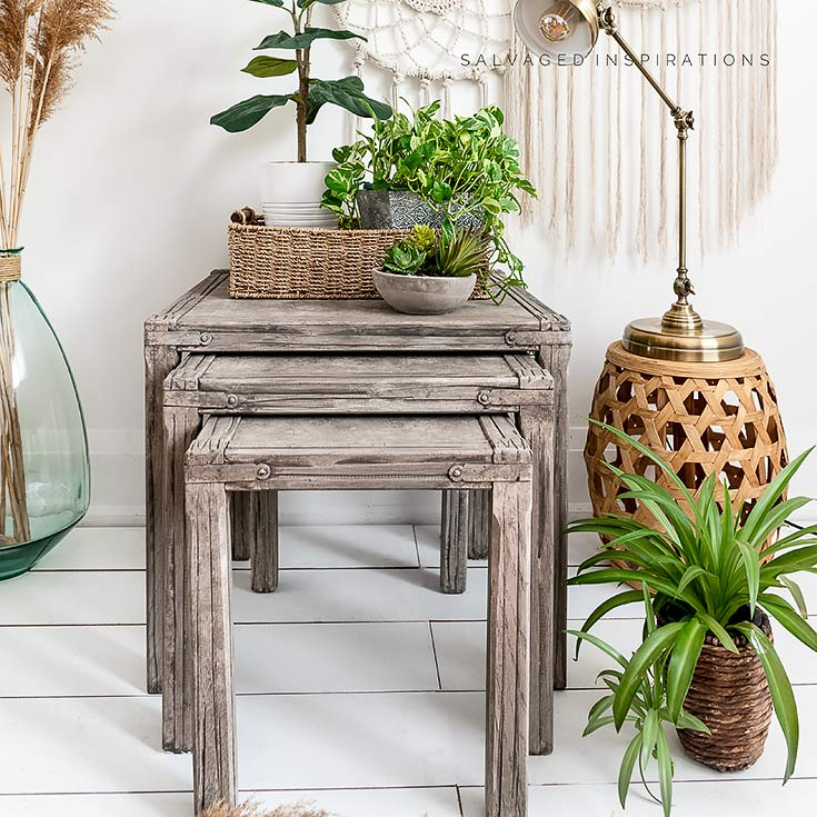 Driftwood Painted Nesting Tables IG