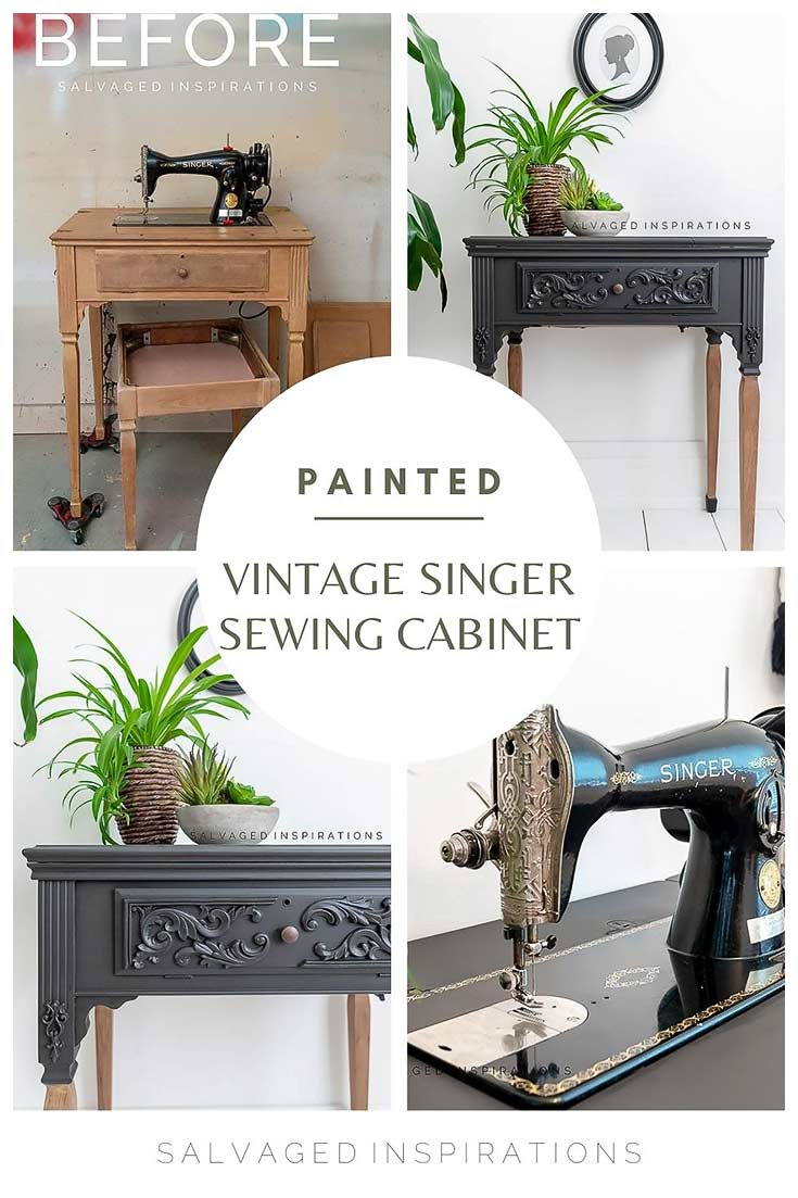 Painted Vintage Singer Sewing Cabinet