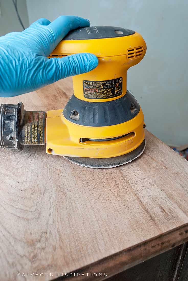 Sanding Bleached Wood Dresser Top