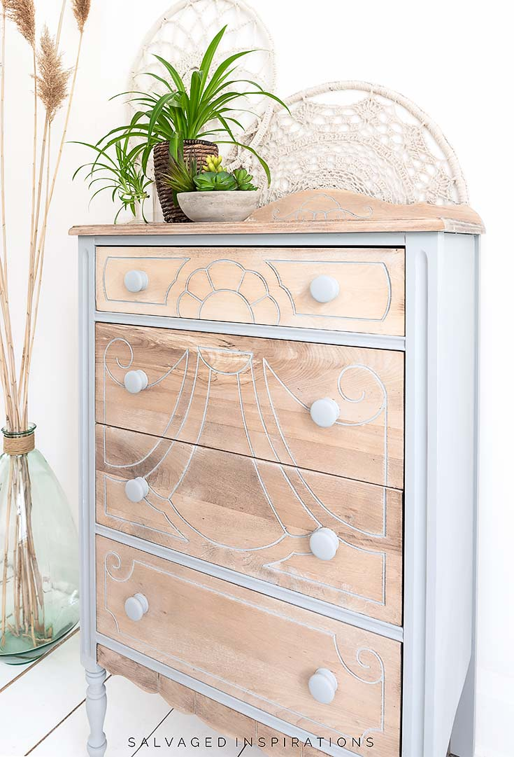 Side View of Painted and Bleached Dresser