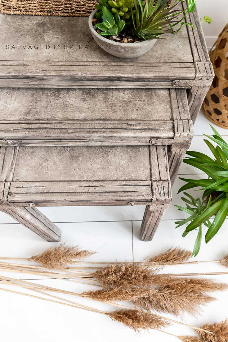 Top View of Driftwood Painted Nesting Tables