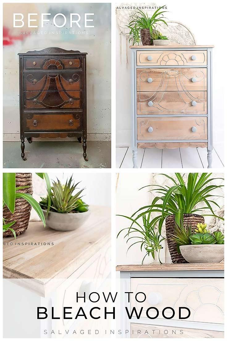 How To Bleach Wood - Vintage Dresser