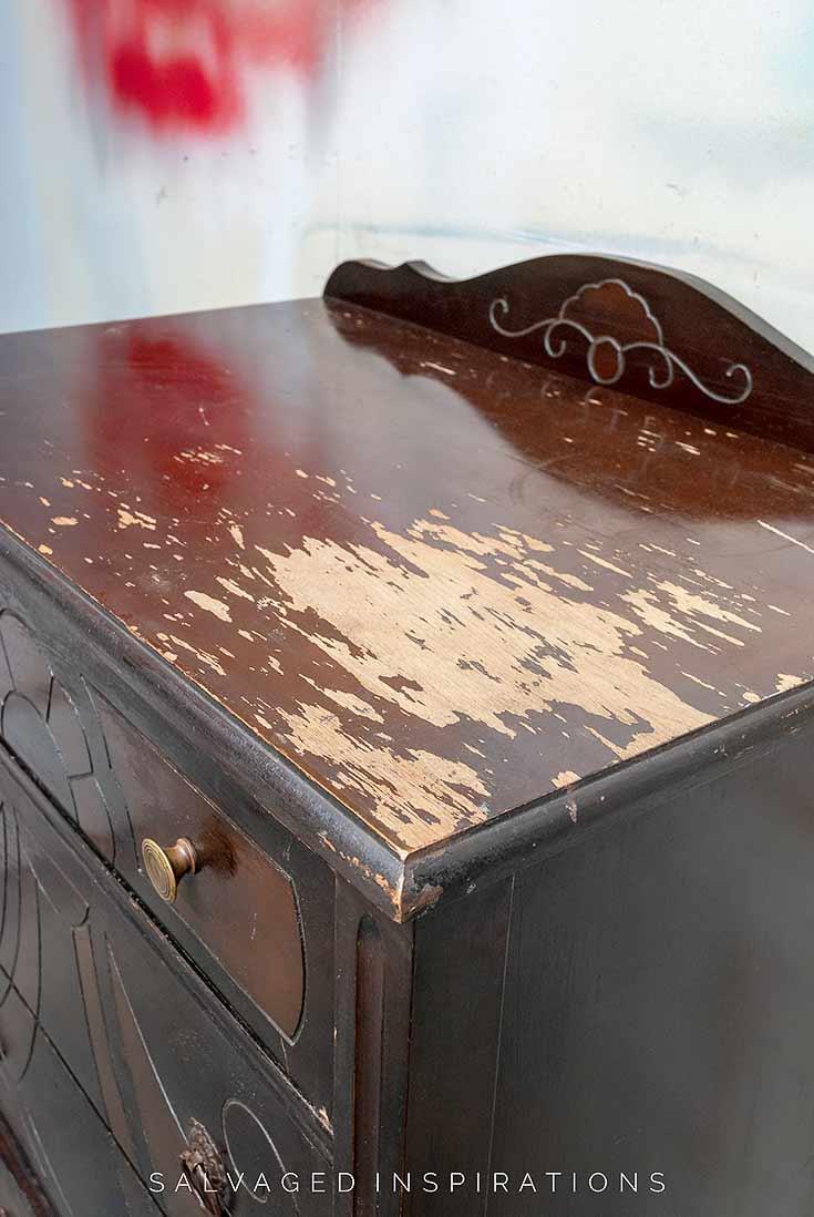 Vintage Dresser Top In Bad Shape