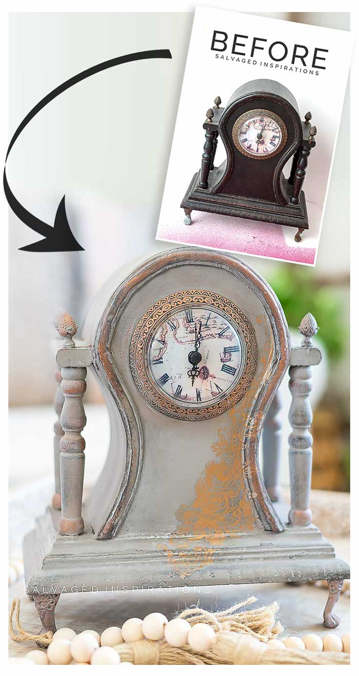 Painted Vintage Clock Makeover Before and After