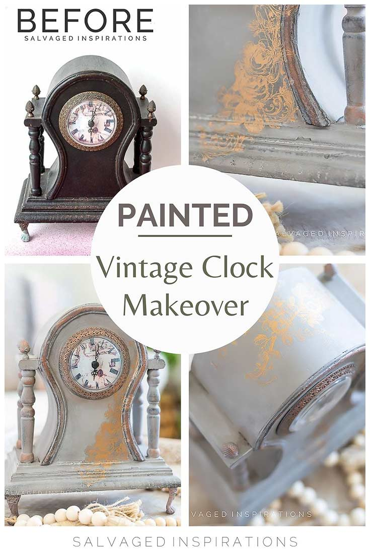Painted Vintage Clock Makeover Collage