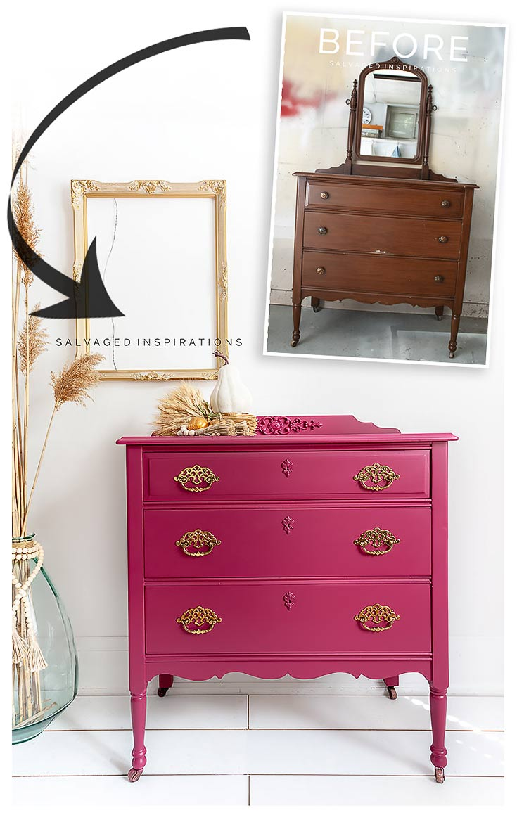 Plum Crazy Painted Fall Dresser Before and After