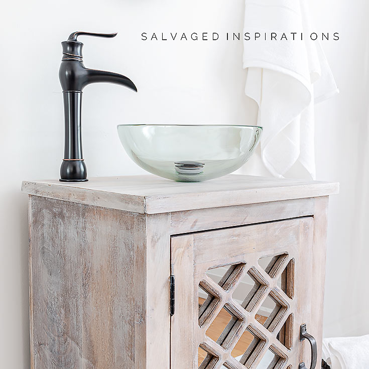 Sink and Faucet on Salvaged bathroom Vanity