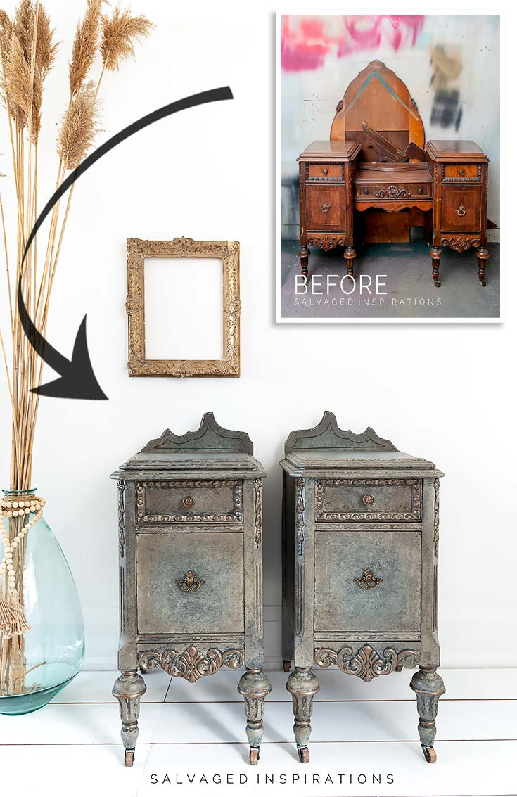 Antiqued Glaze on Nightstands before and after