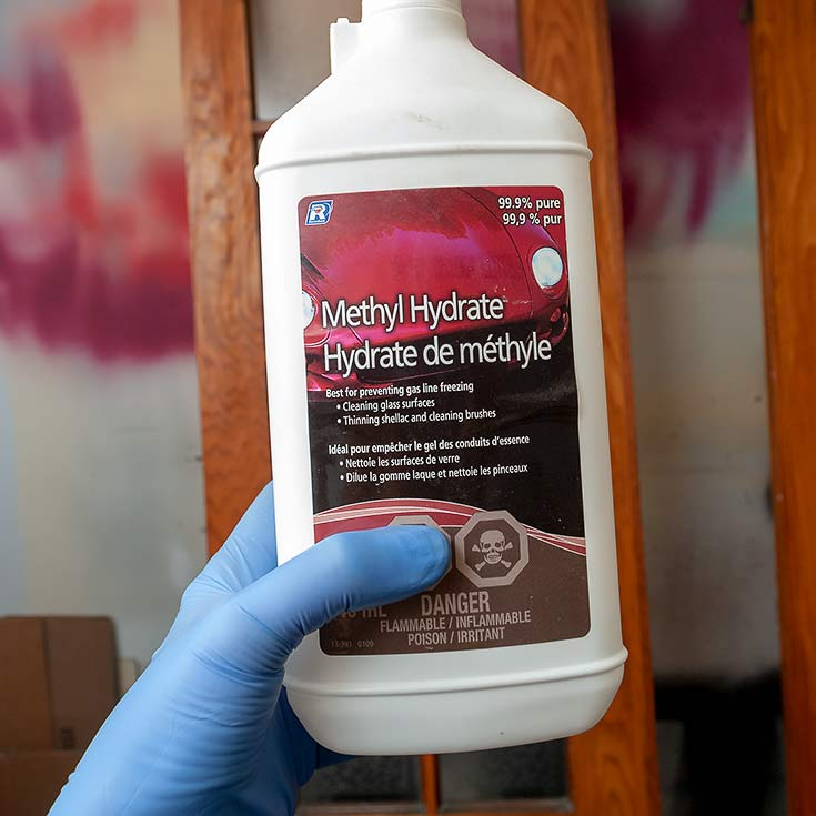 Clean with Methyl Hydrate OR Denatured Alcohol