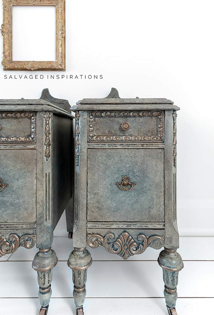 Close Up of Antique Glazed Nightstand