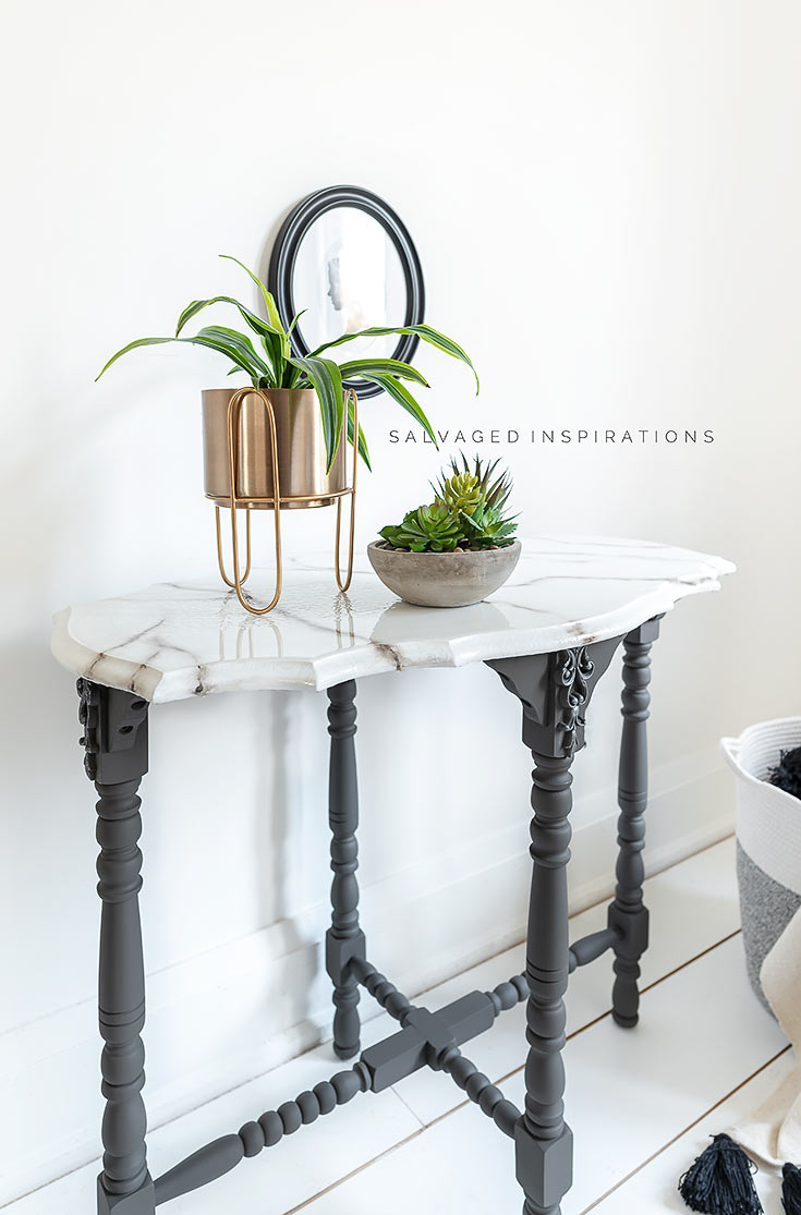 DIY Marble Paint Effect Table Top